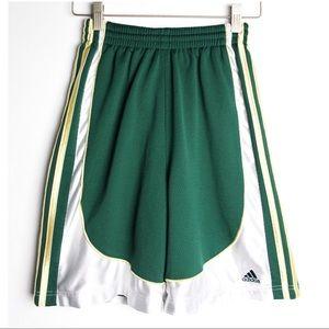 ADIDAS Green Gold White Basketball Gym Shorts
